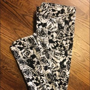 Justice Premium Black And White Flower Jeans.